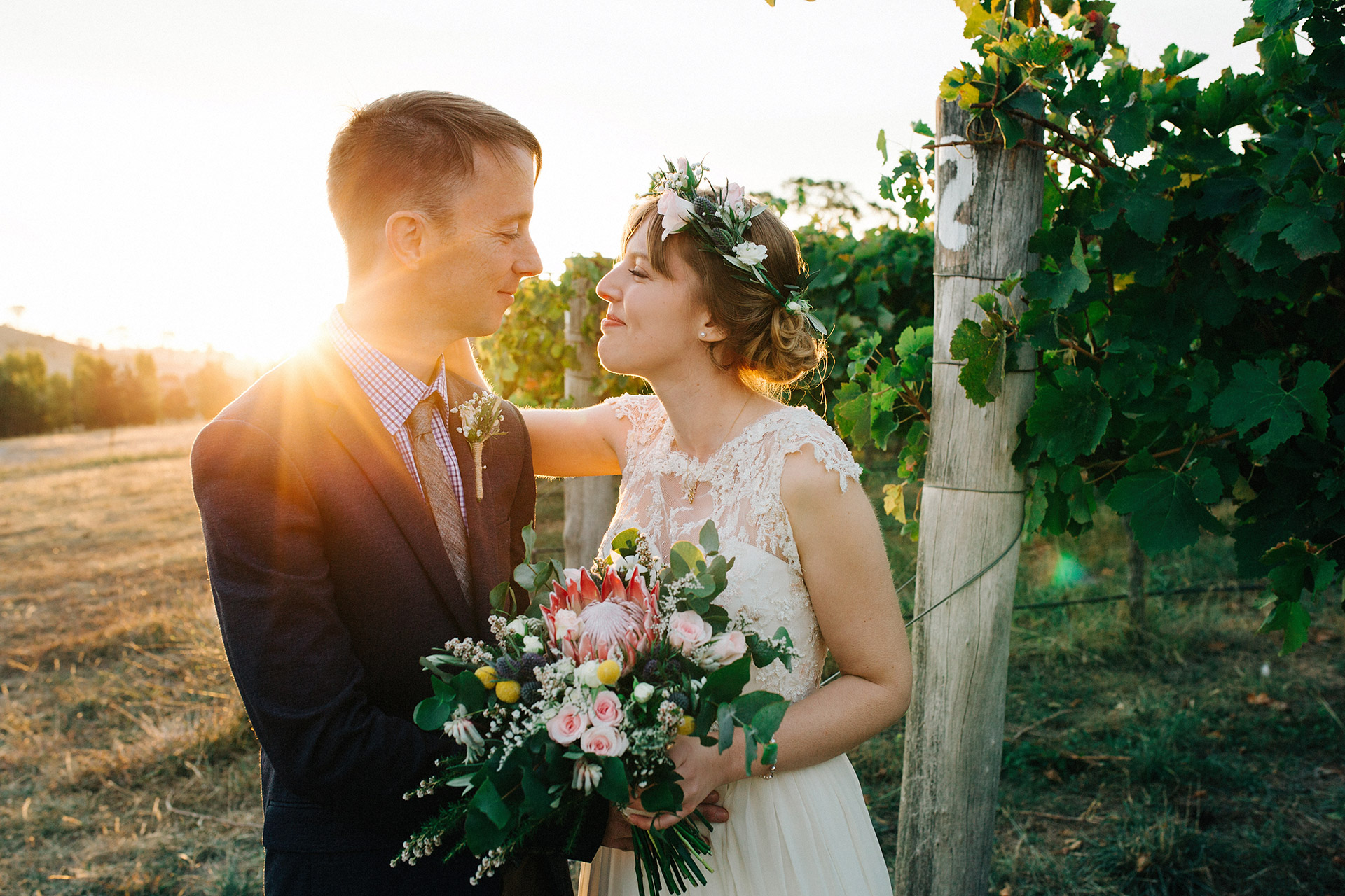 Bride and Groom at sunset for small wedding on the Sunshine Coast Flame Hill Vineyard